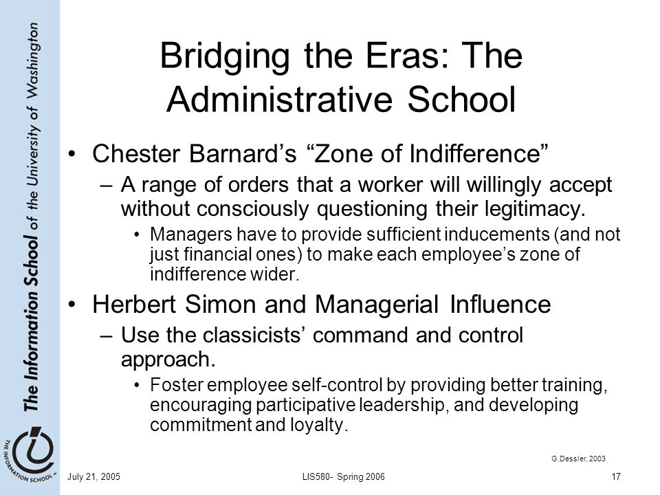 Bridging the Eras: The Administrative School