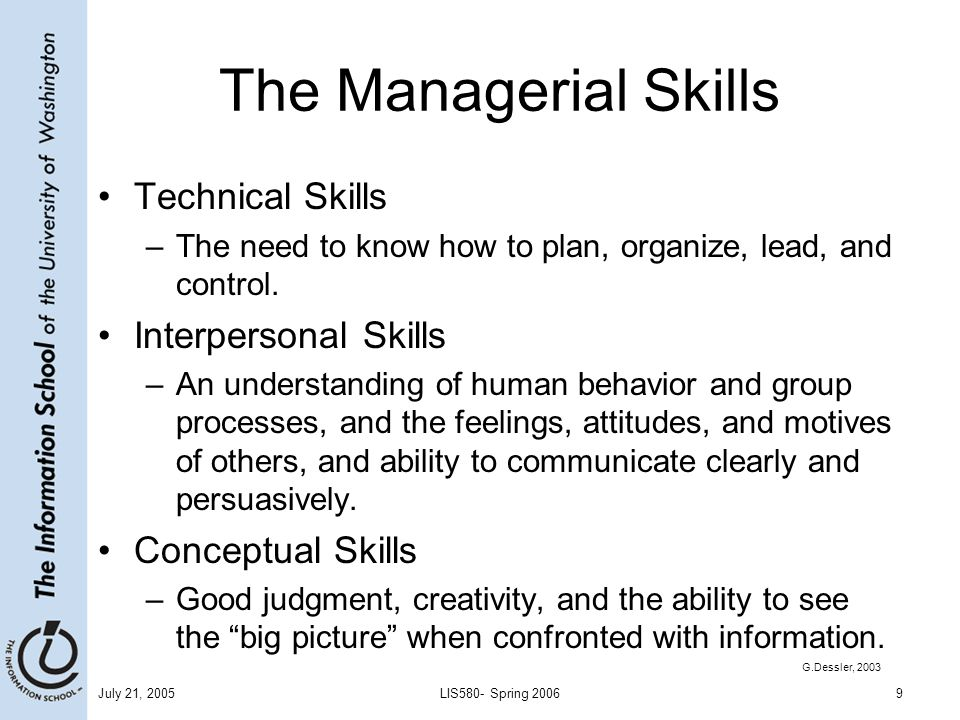 The Managerial Skills Technical Skills Interpersonal Skills