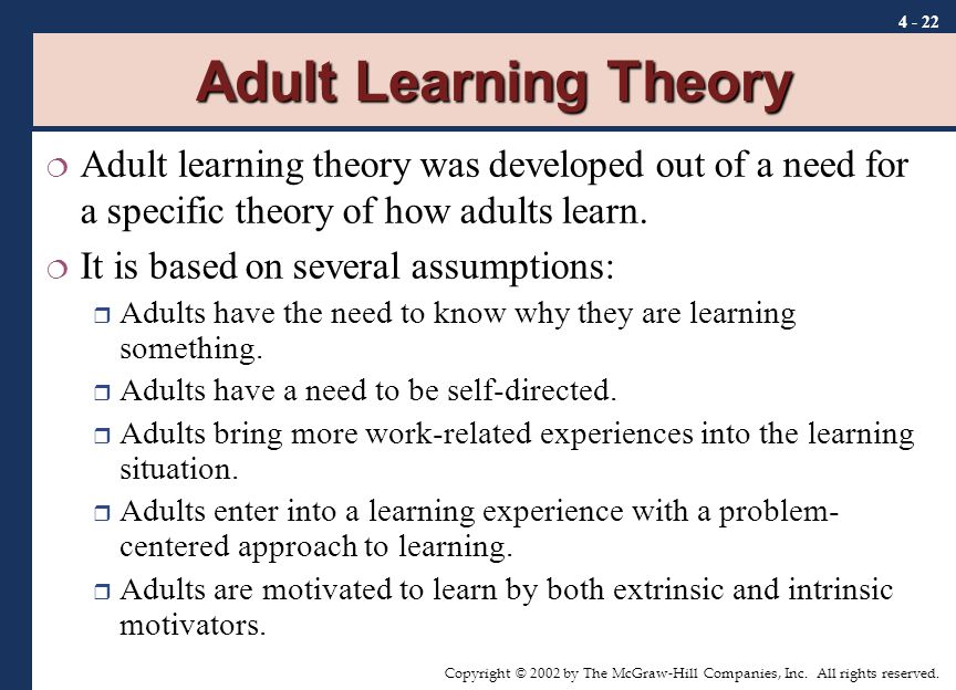 adult learning theories Integrating adult learning theory - adult learning  learning theories for teachers - kurt lewin produced the root ideas of cognitive-field psychology.