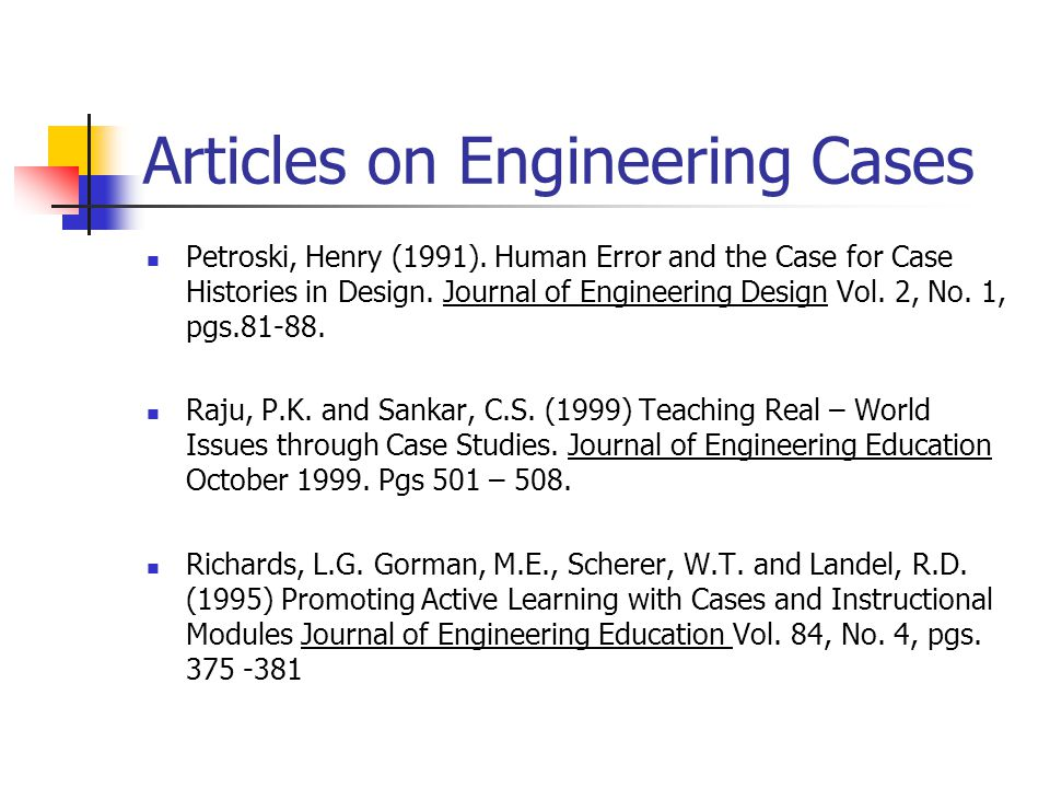 Articles on Engineering Cases