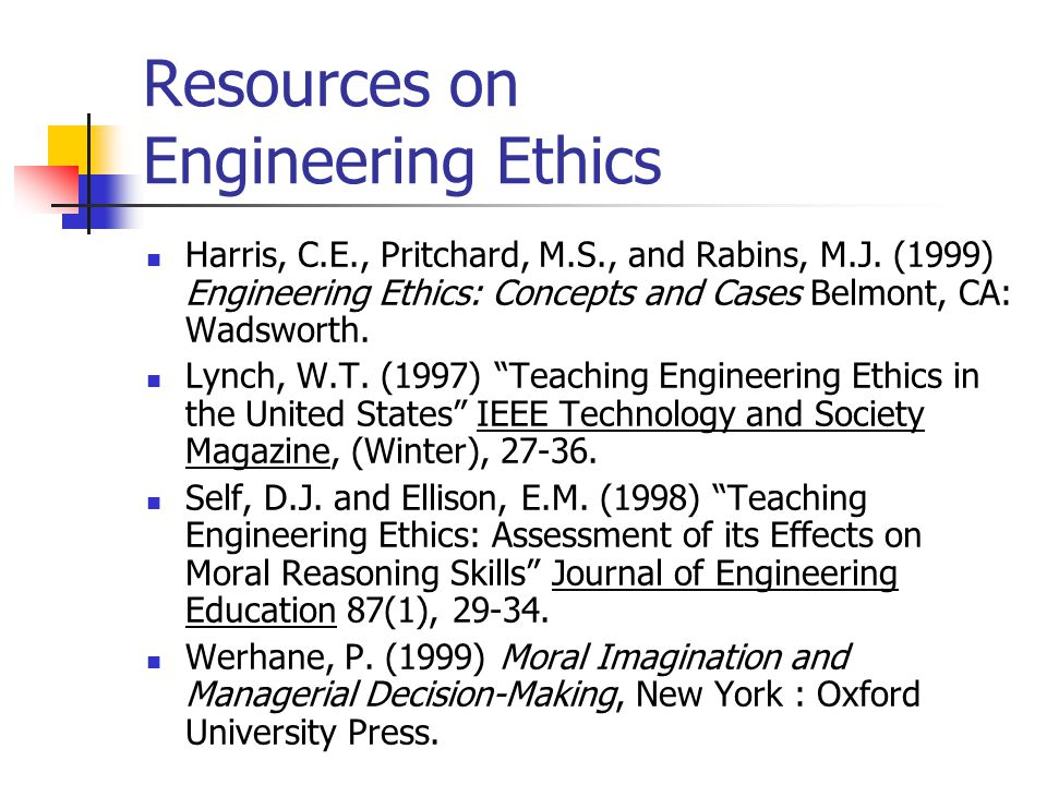 Resources on Engineering Ethics