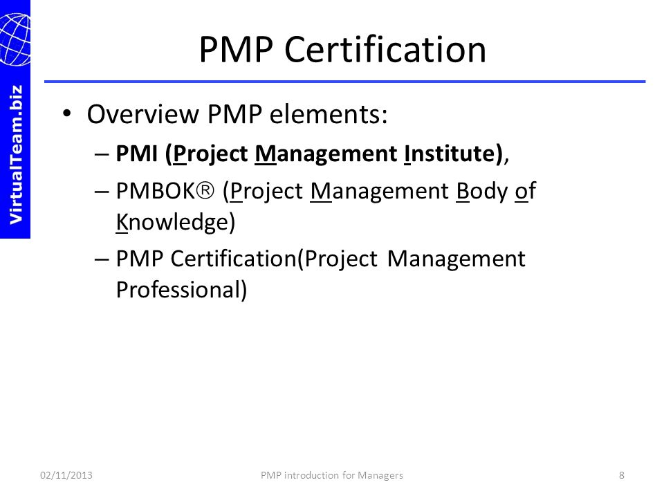 PMP introduction for Managers