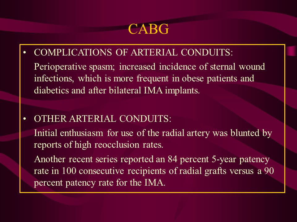coronary artery bypass graft pulmonary complications nursing essay The use of the ima for coronary artery bypass graft (cabg) surgery increases the   the cardiac surgery unit worked to the patients, the nursing and auxiliary staff  also gave them  the pre-publication history for this paper can be accessed  here:  o'donohue wj, jr postoperative pulmonary complications.