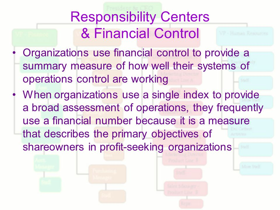 responsibility centers and financial control essay Center, revenue center, profit center, and investment center each of these responsibility centers of a trading unit provides a performance report which reflects the unbudgeted amounts, actual amounts and deviations and the analysis of.