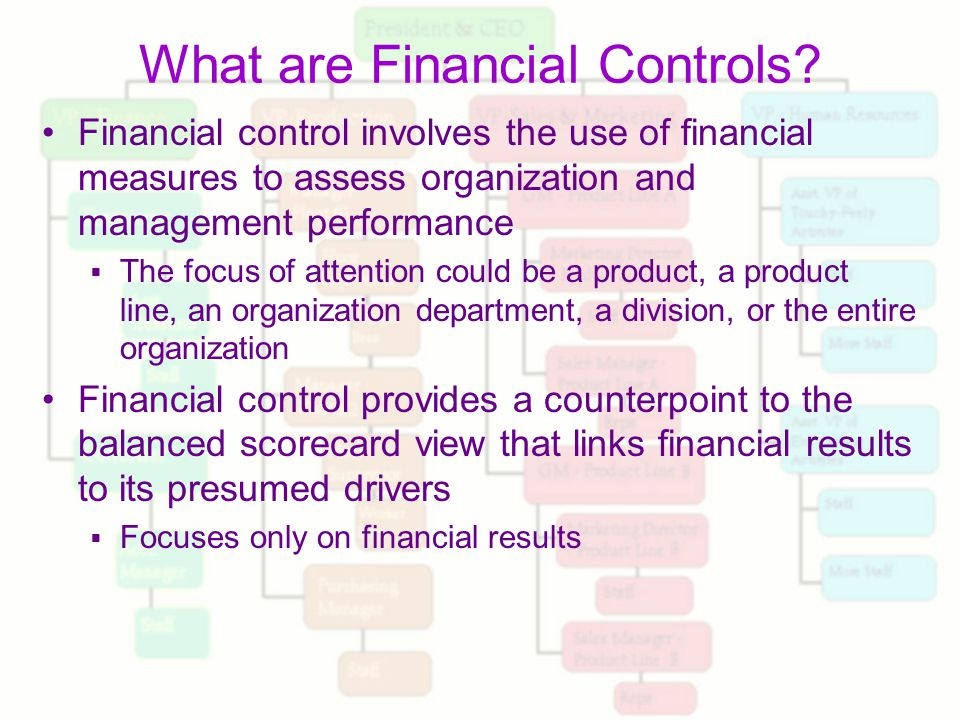 financial management and control Agencies are required to have an effective financial management system as a   they serve as tools for use by managers to control their organizations and to.