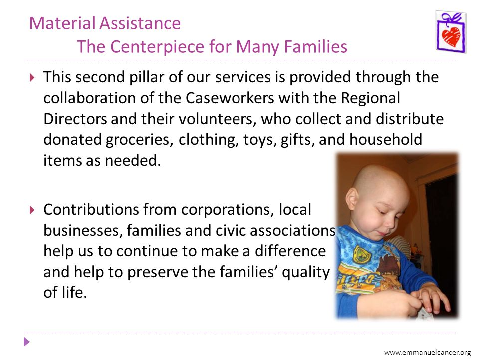 Material Assistance The Centerpiece for Many Families