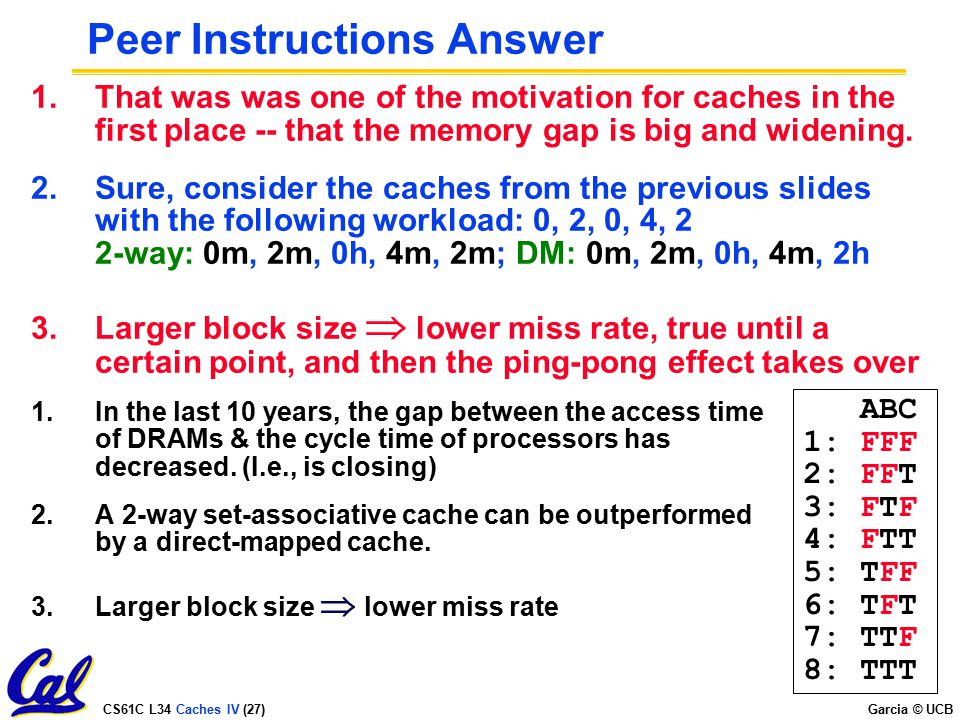 Peer Instructions Answer