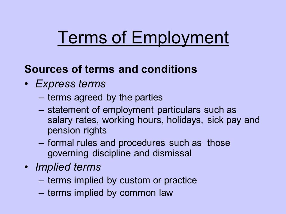 Terms of employment sources of terms and conditions for Statement of terms and conditions of employment template