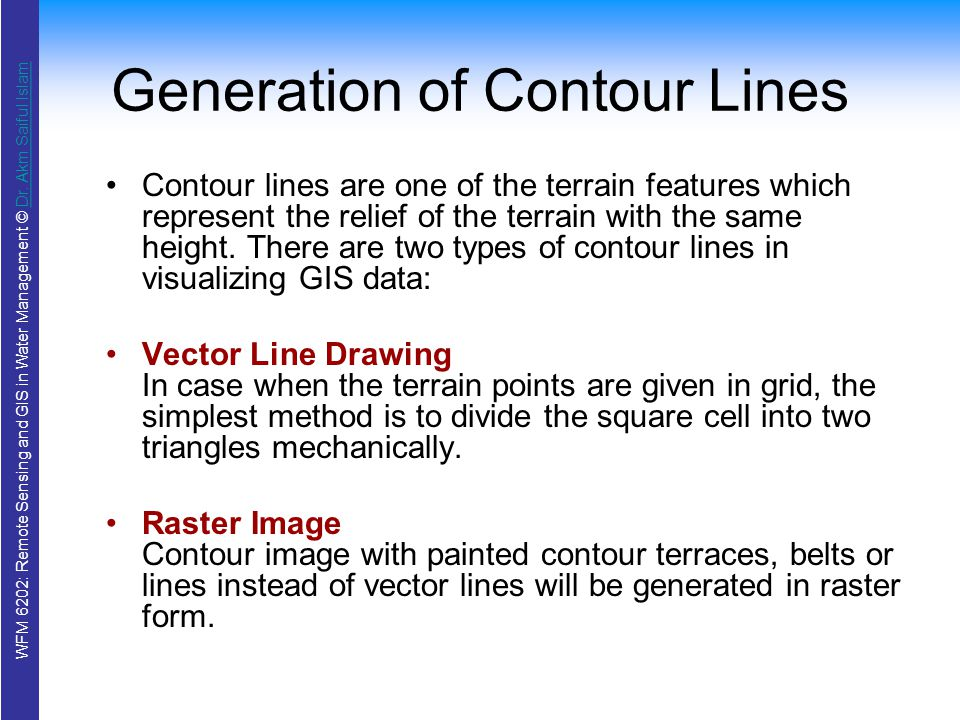 Contour Line Drawing Algorithm : Wfm remote sensing and gis in water management ppt