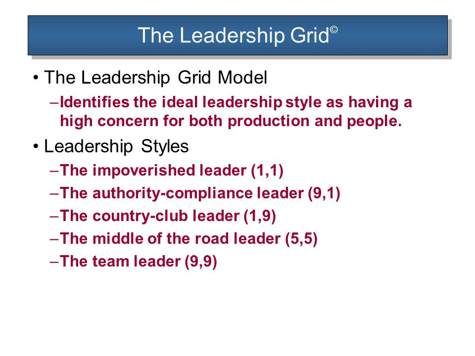 The Leadership Grid© The Leadership Grid Model Leadership Styles