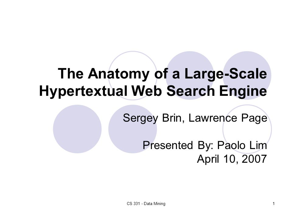 The Anatomy Of A Large Scale Hypertextual Web Search Engine Ppt