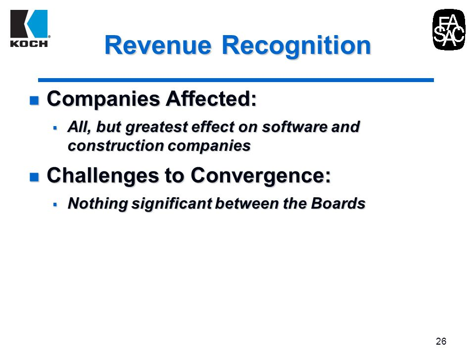 revenue recognition convergence Convergence of global accounting standards  the fasb and iasb issued their converged standard on revenue recognition, revenue from contracts with customers.
