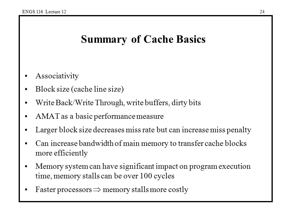 Summary of Cache Basics