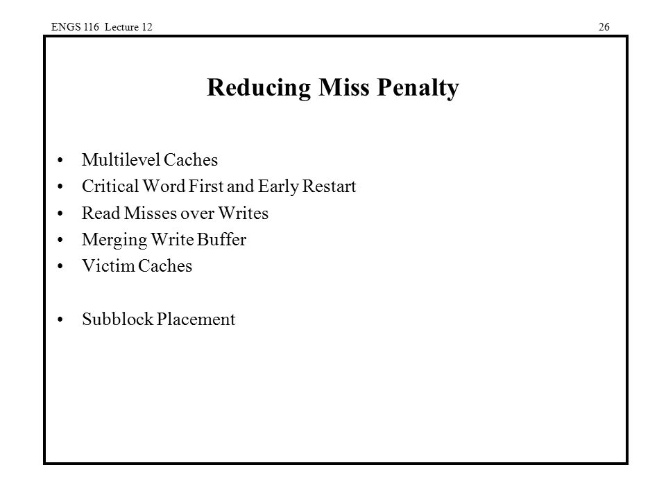 Reducing Miss Penalty Multilevel Caches