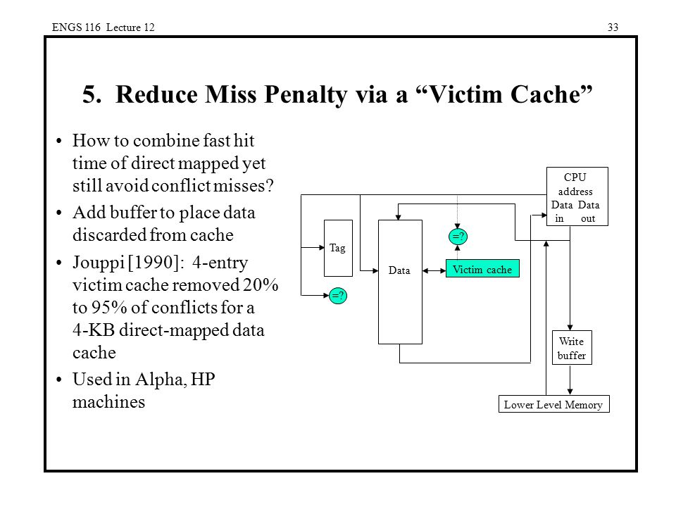 5. Reduce Miss Penalty via a Victim Cache