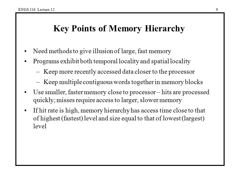 Key Points of Memory Hierarchy