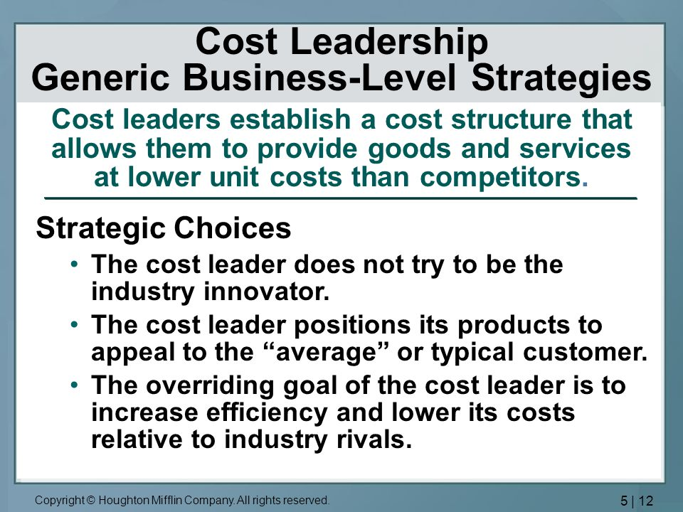 Cost Leadership Generic Business-Level Strategies