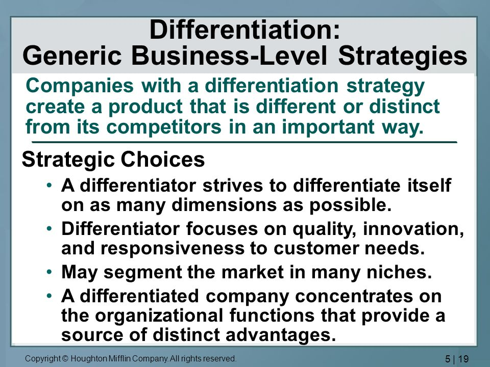 Differentiation: Generic Business-Level Strategies