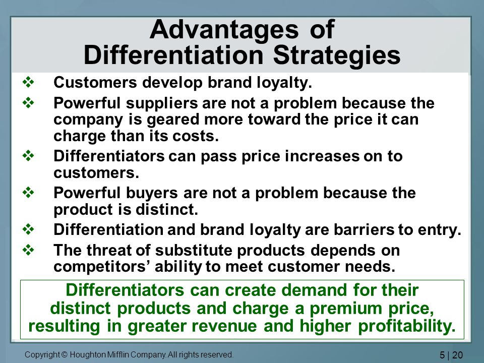 Advantages of Differentiation Strategies