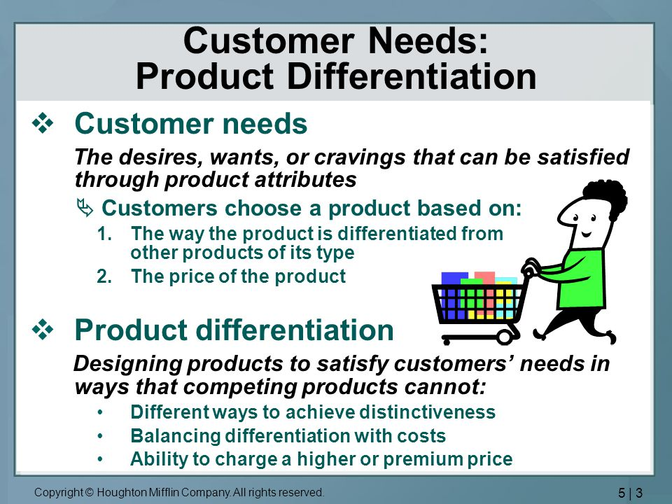 Customer Needs: Product Differentiation