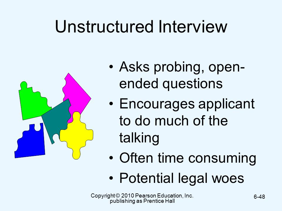unstructured interview sample Replacing unstructured with structured  we have run a number of a/b tests to measure the diagnostic power of specific work-sample tests and interview questions .