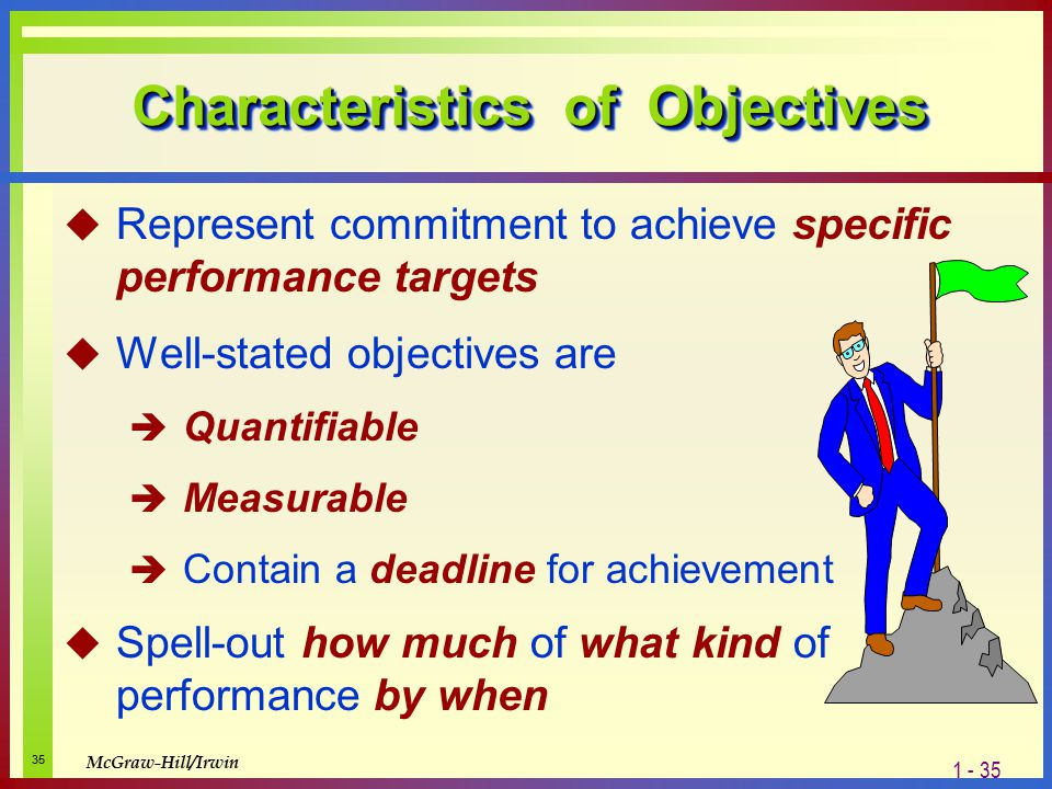 what are the characteristics of long term objectives Characteristics of strategic planning  characteristics of an effectively  will describe how the sport hopes to achieve its long-term objectives and strategic.