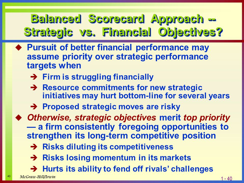 balanced perspective challenges What are some of the potential difficulties in approaching strategic planning from a balanced perspective isn't financial performance still the most important perspective to take in planning.