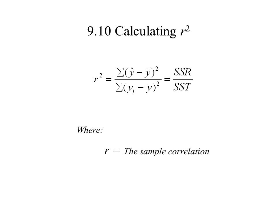9.10 Calculating r2 Where: r = The sample correlation