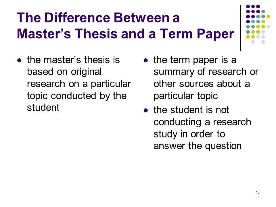difference between term paper and thesis paper When writing a phd paper, it's crucial to know the difference between thesis and dissertation on the first place find here tips that will help you out.