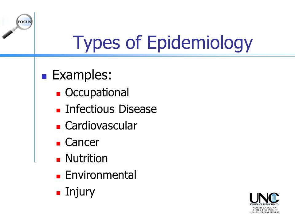 Types of epidemiology study