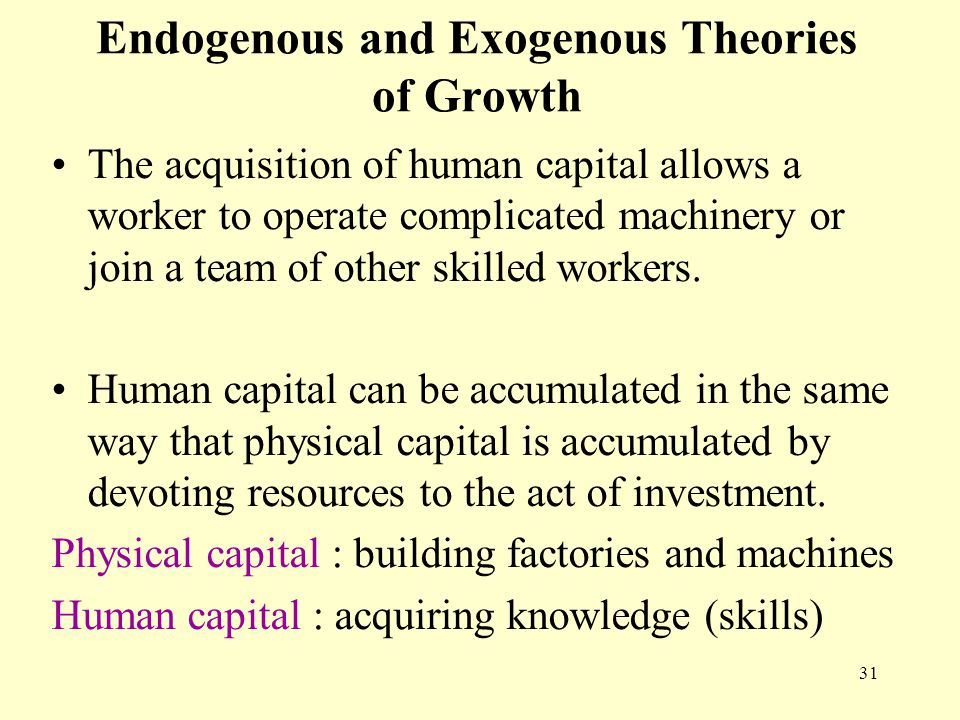 an analysis of the endogenous and exogenous growth theories of economic growth Growth the analysis is conceptual and is intended to form the basis for  recent  work on endogenous growth theory has sought to supply the miss-  1with  exogenous, labor-augmenting technological progress, the level of output per.