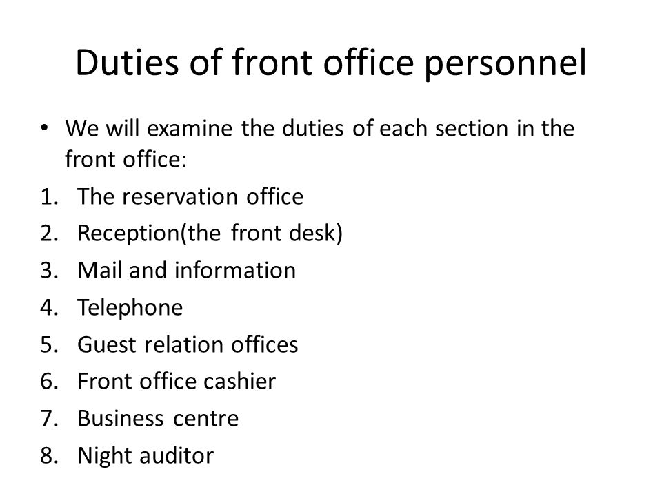 Front Office Operations  Ppt Video Online Download