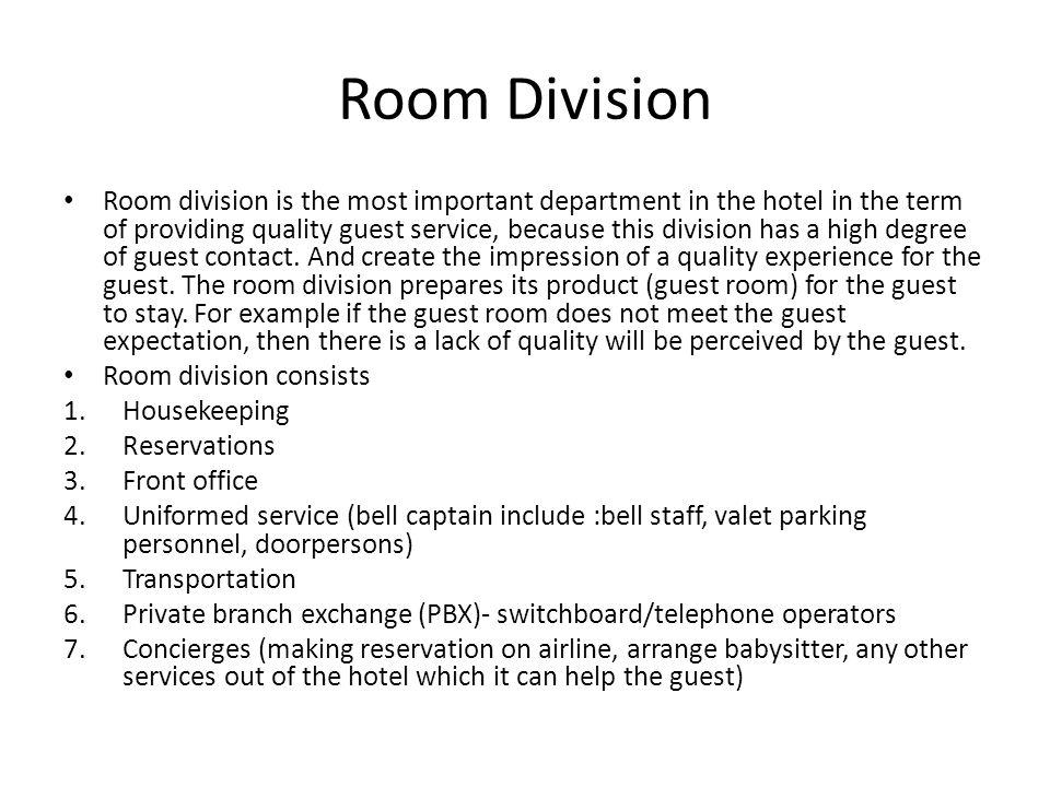 rooms division department Housekeeping atau tata graha adalah salah satu bagian atau department yang ada di dalam hotel yang room division • departemen : housekeeping kedudukan dalam.