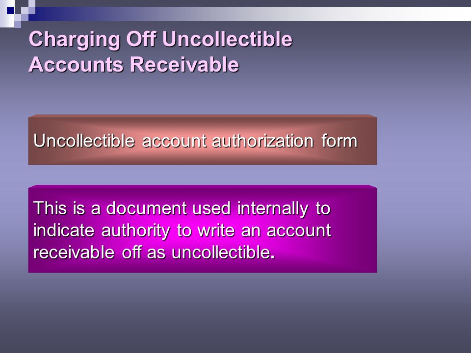 Charging Off Uncollectible Accounts Receivable