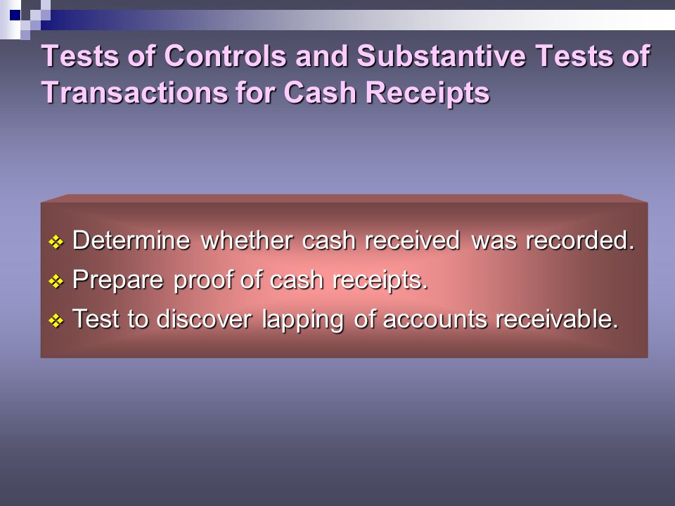 Tests of Controls and Substantive Tests of Transactions for Cash Receipts
