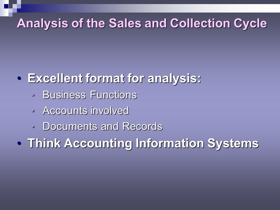 Analysis of the Sales and Collection Cycle