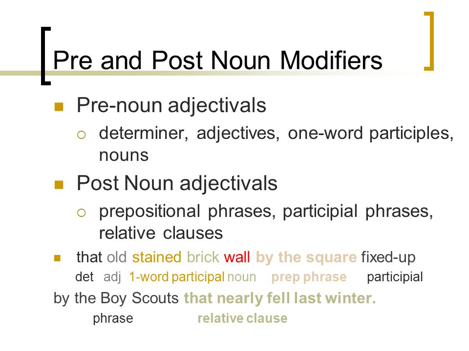 Adjectivals noun modifiers ppt video online download for Is floor a noun