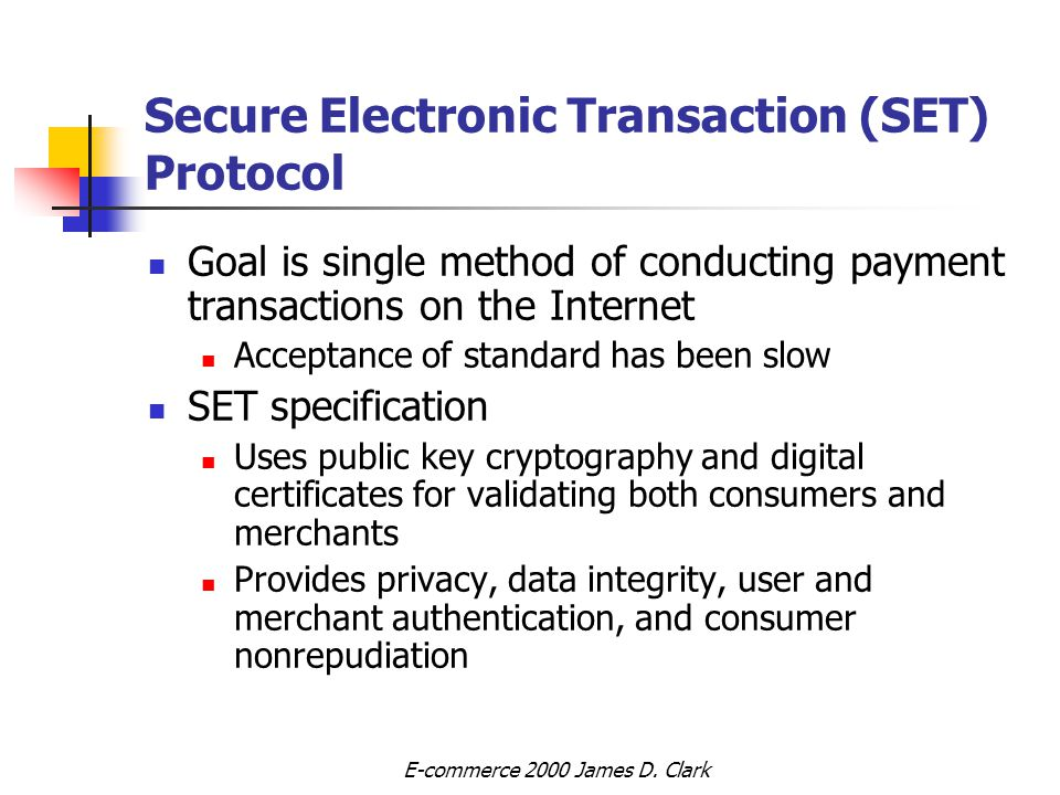 secure electronic transactions Secure electronic transactions (set) secure socket layer (ssl) vs secure electronic transaction (set ä.