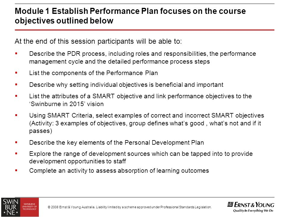 Module 1 establish performance plan for general staff for Performance objective template