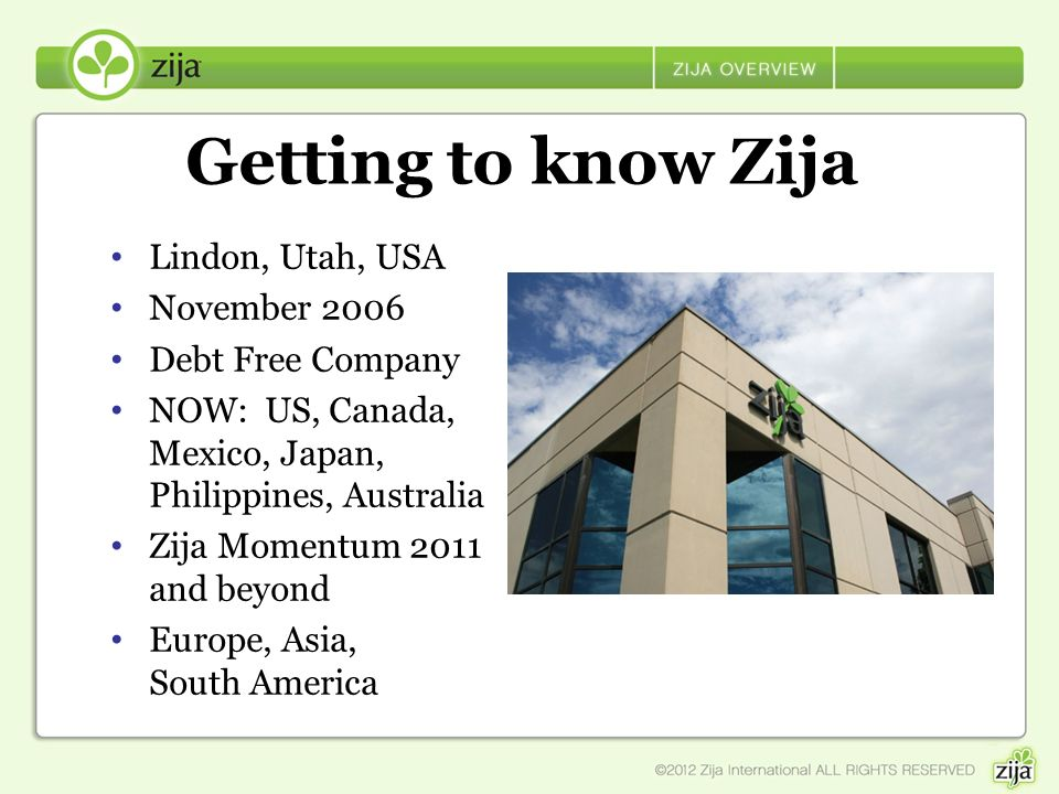 Getting to know Zija Lindon, Utah, USA November 2006 Debt Free Company