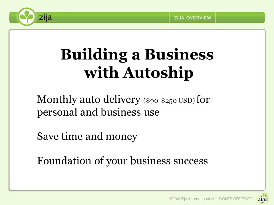 Building a Business with Autoship