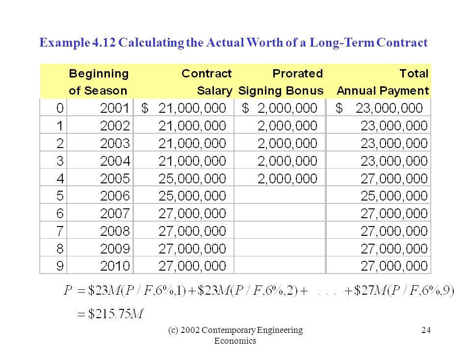 Example 4.12 Calculating the Actual Worth of a Long-Term Contract