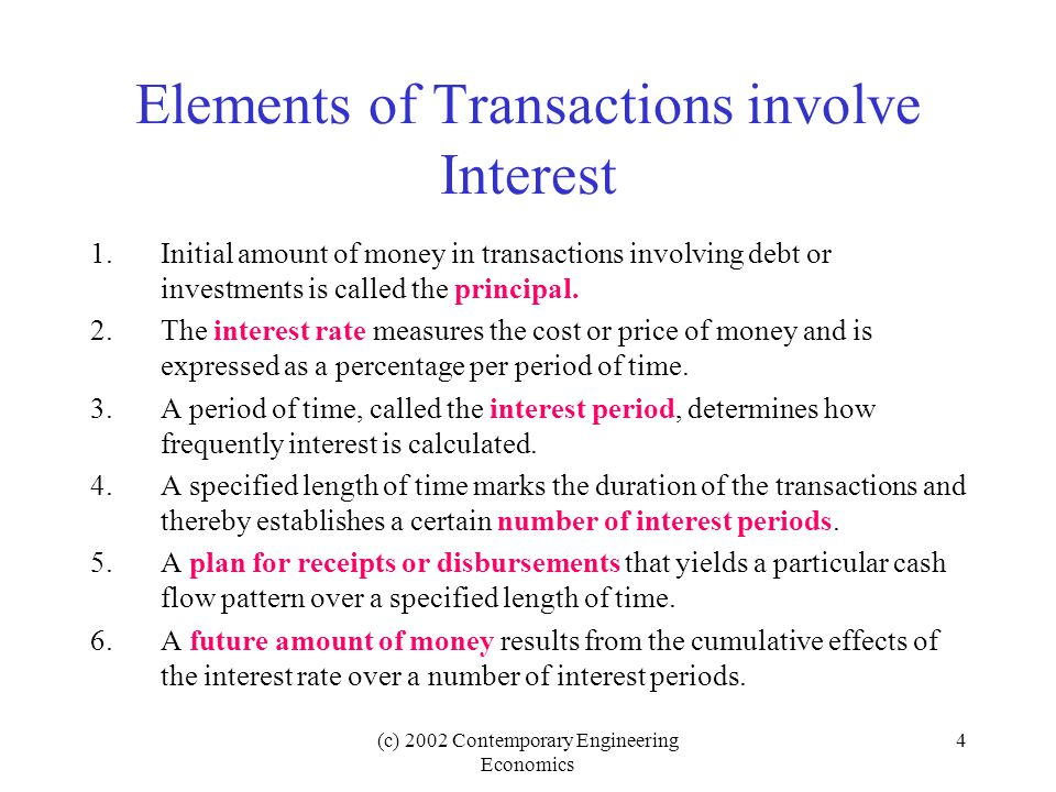 Elements of Transactions involve Interest
