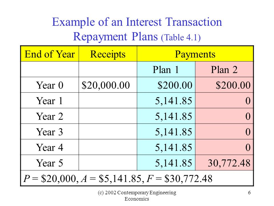 Example of an Interest Transaction Repayment Plans (Table 4.1)