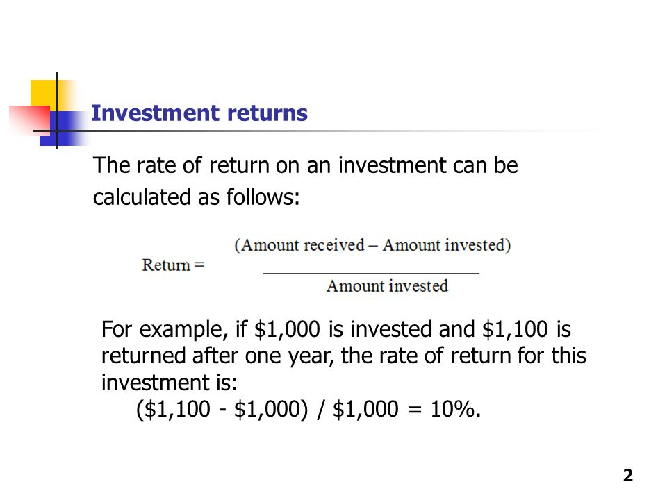 investment rate of return and current At calcxml we have developed a user friendly rate of return calculator use it to help you determine the return rate on any investment  or current performance.