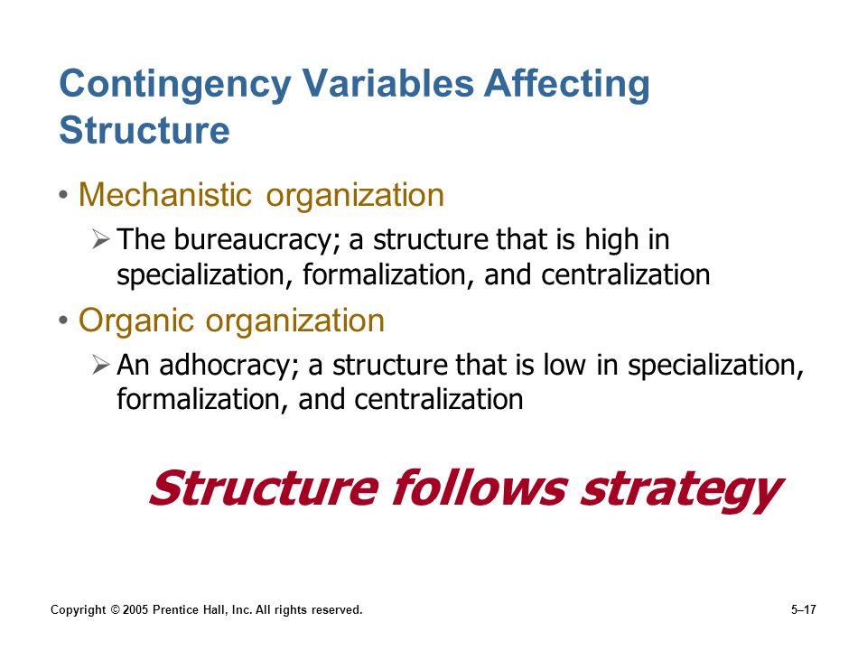 Contingency Variables Affecting Structure