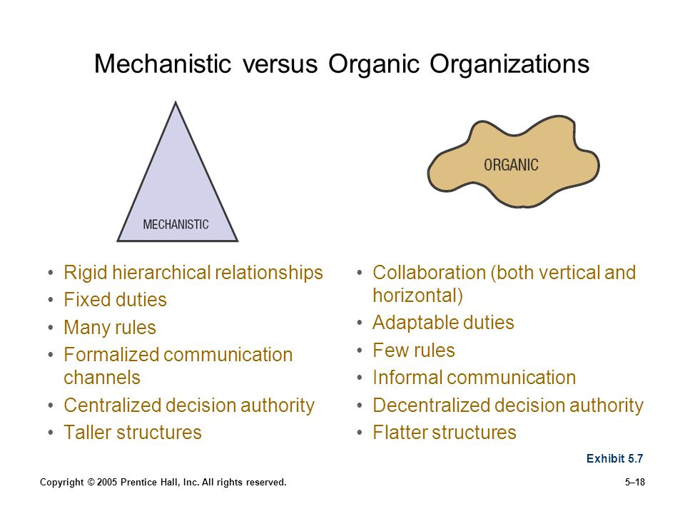 Mechanistic versus Organic Organizations