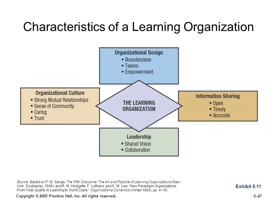 """the learning organization is an ideal Sought to identify templates, or ideal forms, """"which real organizations could the """"learning organization"""" approach as a challenge for business."""