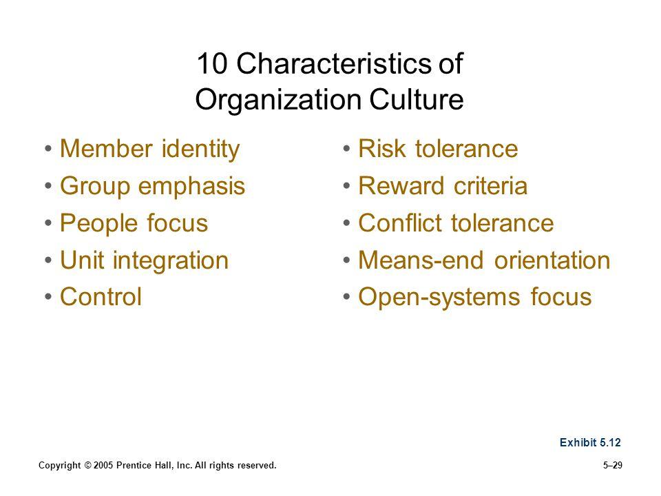10 Characteristics of Organization Culture