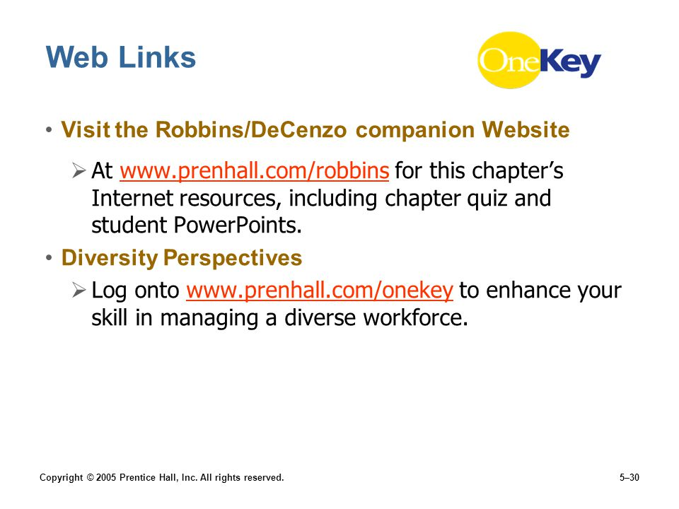 Web Links Visit the Robbins/DeCenzo companion Website